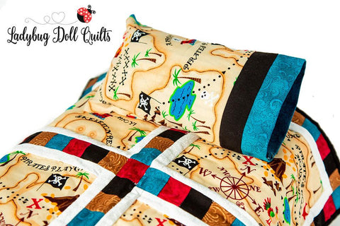 Ladybug Doll Quilt Around the Square bedding set pillow pillowcase designed to fit 18 inch American Girl Doll Bed