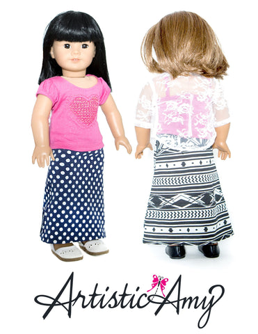 "Maxi Skirt 18"" Doll Clothes Pattern"