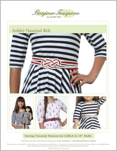 "Ashley Nautical Belt Pattern for Girls and 18"" Dolls"