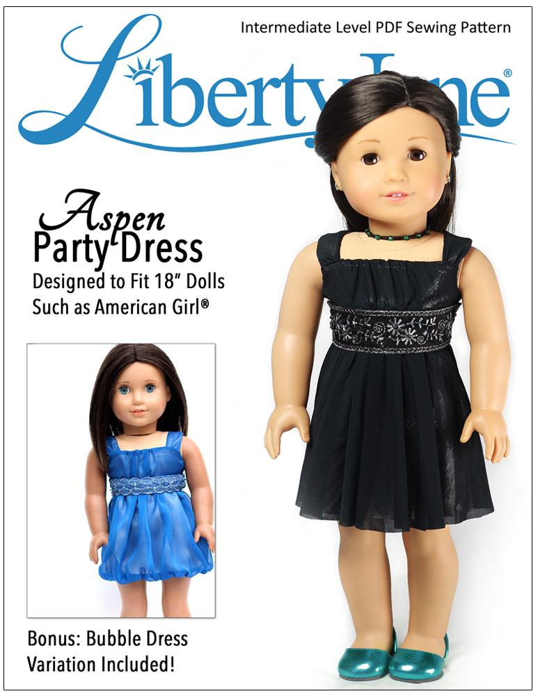 Aspen Party Dress 18 inch Doll Clothes Pattern PDF Download | Pixie ...