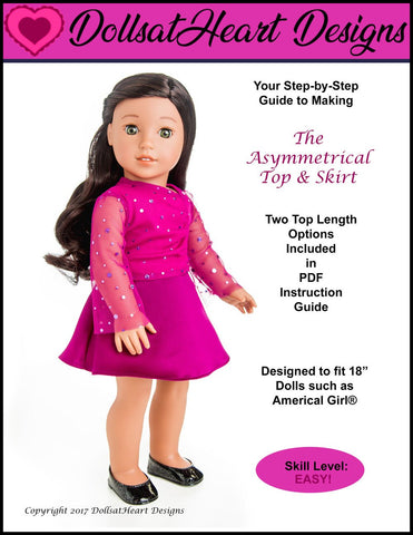 pdf doll clothes sewing pattern Dollsatheartdesigns asymmetrical top and skirt designed to fit 18 inch American Girl Dolls