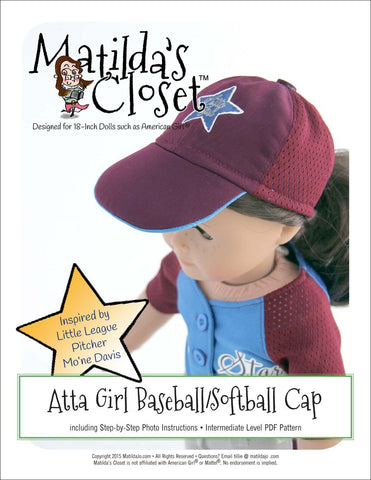 "Atta Girl Baseball / Softball Cap 18"" Doll Clothes Pattern"
