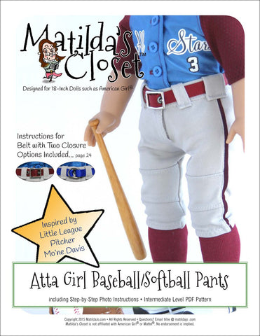 "Atta Girl Baseball / Softball Pants 18"" Doll Clothes Pattern"