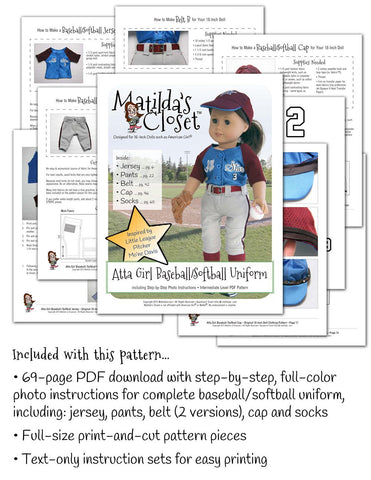 "Atta Girl Baseball / Softball Uniform 18"" Doll Clothes Pattern"