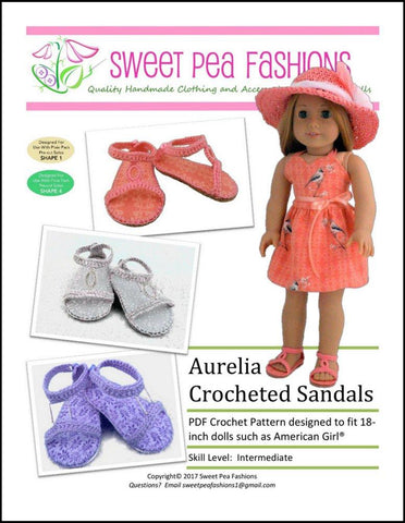 "Sweet Pea Fashions Crochet Aurelia Crocheted Sandal 18"" Doll Crochet Pattern Pixie Faire"