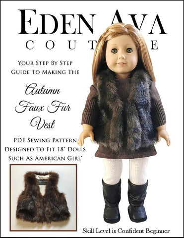 pdf doll clothes sewing pattern Eden Ava Couture Autumn Faux Fur Vest designed to fit 18 inch American Girl dolls
