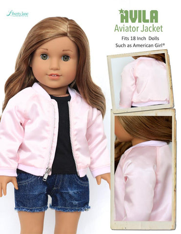 "Avila Aviator Jacket 18"" Doll Clothes Pattern"