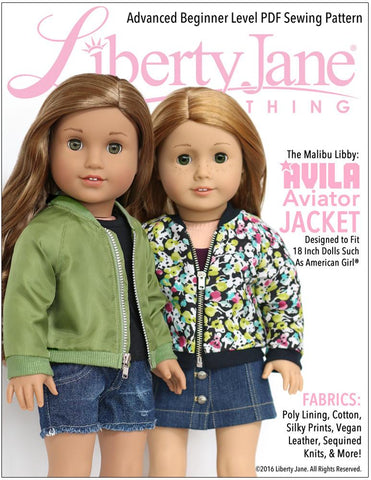 "Liberty Jane 18 Inch Modern Avila Aviator Jacket 18"" Doll Clothes Pattern Pixie Faire"