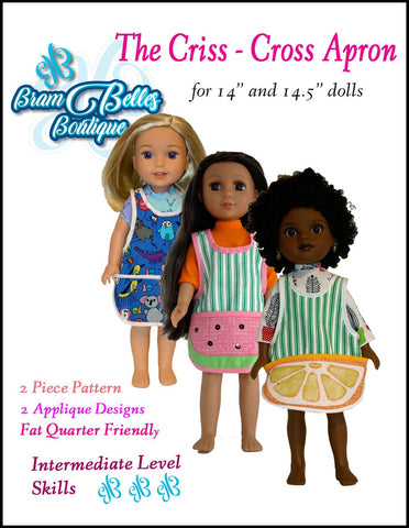 "Criss Cross Apron 14-14.5"" Doll Accessories Pattern"