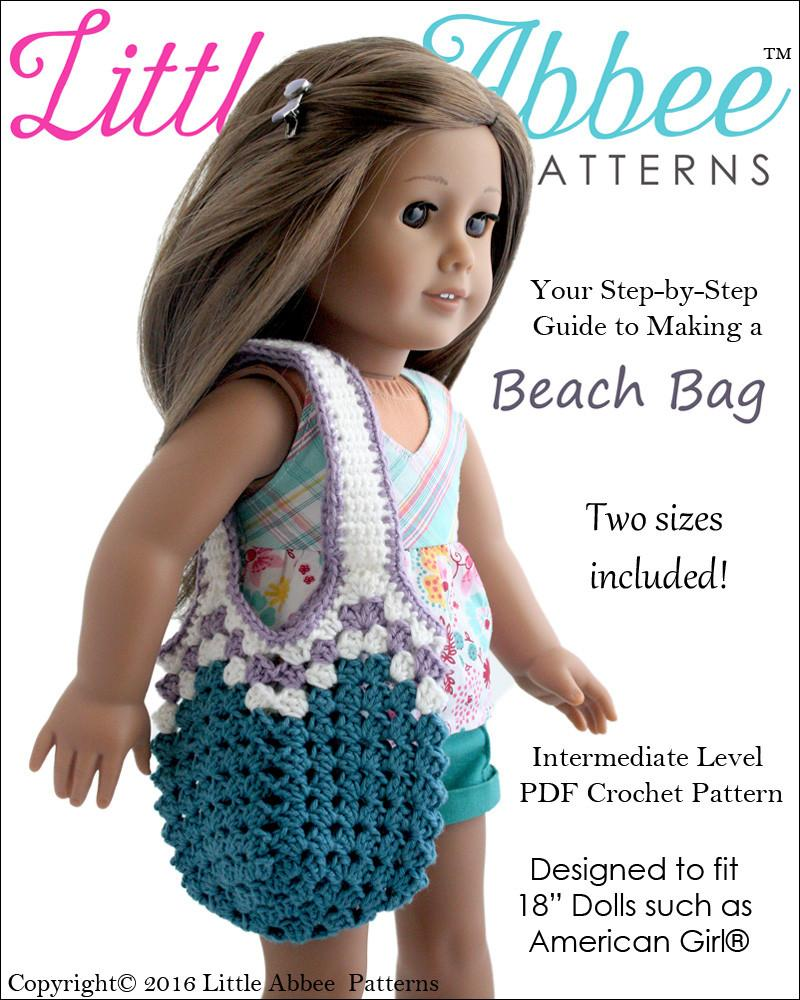 Little Abbee Beach Bag Doll Clothes Pattern 18 Inch American Girl