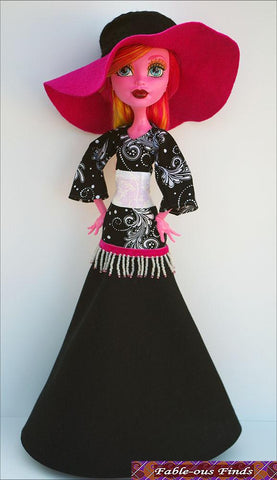"Bohemian Beauty Maxi Dress and Floppy Hat for 17"" Monster High Dolls"