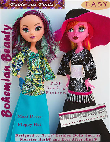 "Fable-ous Finds Monster High Bohemian Beauty Maxi Dress and Floppy Hat for 17"" Monster High Dolls Pixie Faire"