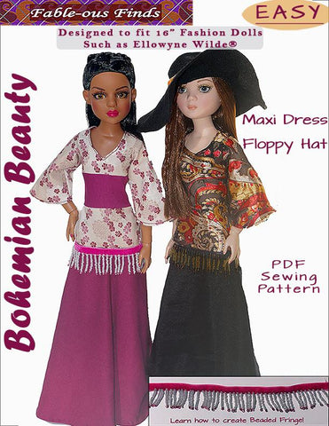 Bohemian Beauty Maxi Dress and Floppy Hat Pattern for Ellowyne Dolls