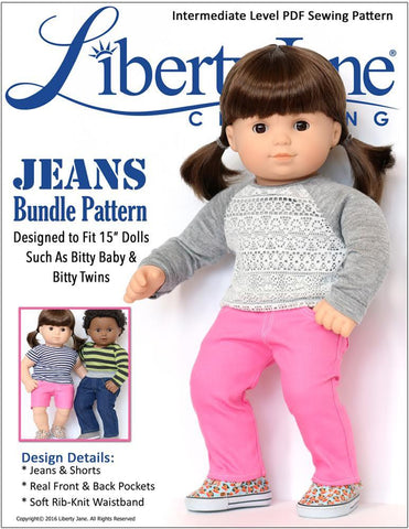 "Jeans Bundle 15"" Baby Doll Clothes Pattern"