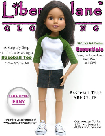 Liberty Jane BFC Ink Baseball Tee Pattern for BFC, Ink Dolls Pixie Faire