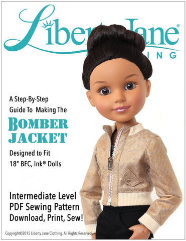 Liberty Jane BFC Ink Bomber Jacket for BFC, Ink. Dolls Pixie Faire