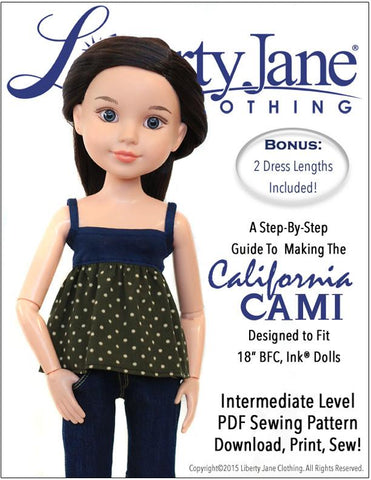 Liberty Jane BFC Ink CA Cami Top and Dress Pattern for BFC, Ink Dolls Pixie Faire