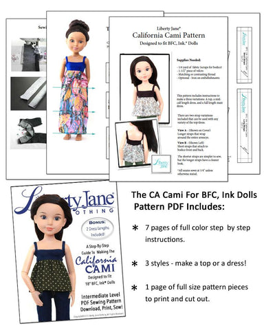 CA Cami Top and Dress Pattern for BFC, Ink Dolls