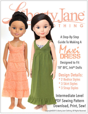 Maxi Dress Pattern For BFC, Ink Dolls
