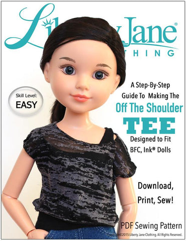 Liberty Jane BFC Ink Off The Shoulder Tee Pattern for BFC, Ink Dolls Pixie Faire