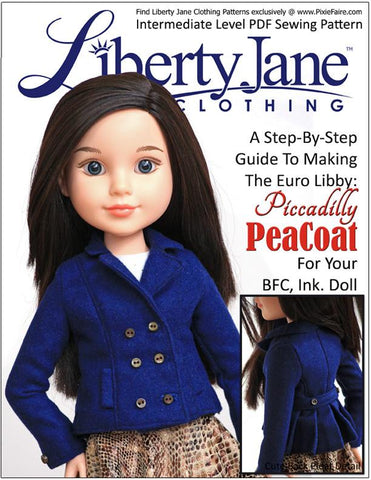 Liberty Jane BFC Ink Piccadilly Peacoat Pattern for BFC, Ink. Dolls Pixie Faire