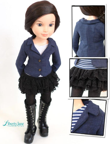 Sofia Blazer and Tiered Skirt Pattern for BFC, Ink. Dolls