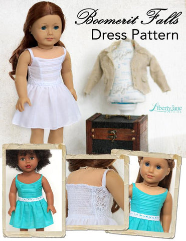 "Boomerit Falls Dress 18"" Doll Clothes Pattern"
