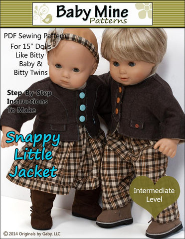 "Baby Mine Bitty Baby/Twin Snappy Little Jacket 15"" Baby Doll Clothes Pixie Faire"