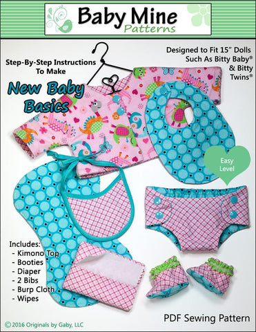 "Baby Mine Bitty Baby/Twin New Baby Basics 15"" Baby Doll Clothes Pattern Pixie Faire"