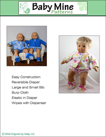 "New Baby Basics 15"" Doll Clothes Pattern"