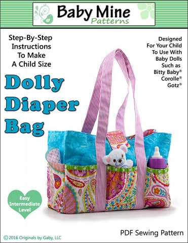 "Baby Mine Bitty Baby/Twin Dolly Diaper Bag 15"" Baby Doll Accessory Pattern Pixie Faire"