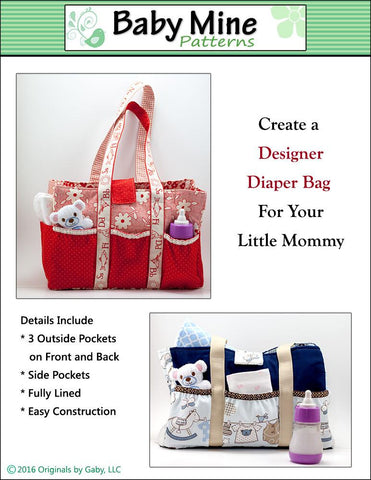 "Dolly Diaper Bag 15"" Doll Accessory Pattern"