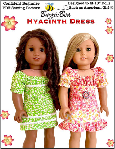 "BuzzinBea 18 Inch Modern Hyacinth Dress 18"" Doll Clothes Pattern Pixie Faire"