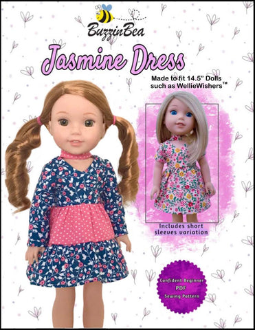 "BuzzinBea WellieWishers Jasmine Dress 14.5"" Doll Clothes Pattern Pixie Faire"
