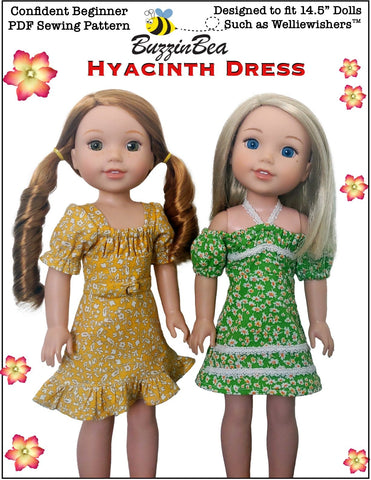 "BuzzinBea WellieWishers Hyacinth Dress 14.5"" Doll Clothes Pattern Pixie Faire"