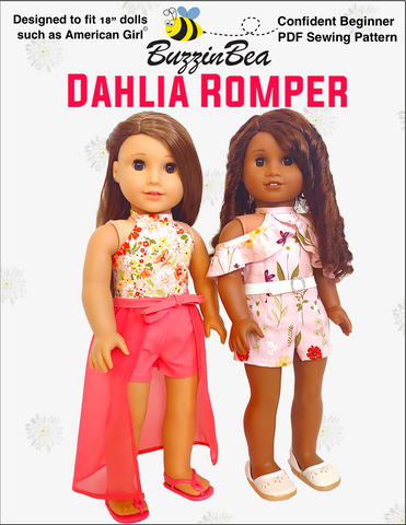 "Dahlia Romper 18"" Doll Clothes Pattern"