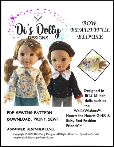 "Di's Dolly Designs WellieWishers Bow Beautiful Blouse 14-15"" Doll Clothes Pattern Pixie Faire"