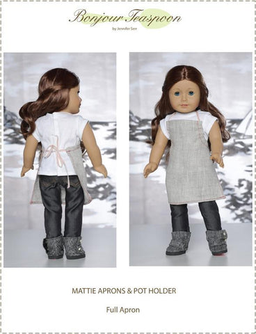 "Mattie Aprons and Pot Holder 18"" Doll Accessory Pattern"