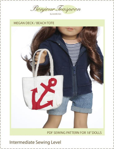 "Megan Deck Beach Tote 18"" Doll Accessory Pattern"