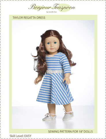 "Bonjour Teaspoon 18 Inch Modern Taylor Regatta Dress 18"" Doll Clothes Pattern Pixie Faire"