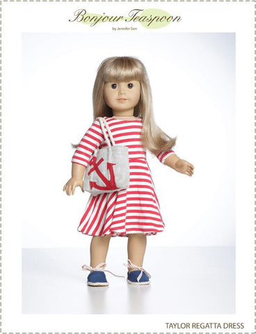 "Taylor Regatta Dress 18"" Doll Clothes Pattern"