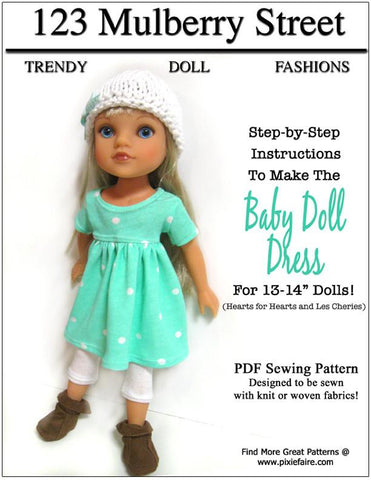 Baby Doll Dress Pattern for Les Cheries and Hearts for Hearts Girls Dolls