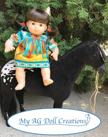 PDF doll clothes sewing pattern My AG Doll Creations Baby Powwow Dress designed to fit 15 inch baby dolls such as Bitty Baby