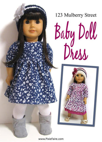 "123 Mulberry Street 18 Inch Modern Babydoll Dress 18"" Doll Clothes Pattern Pixie Faire"