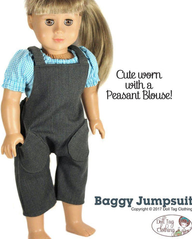 "Baggy Jumpsuit 18"" Doll Clothes Pattern"