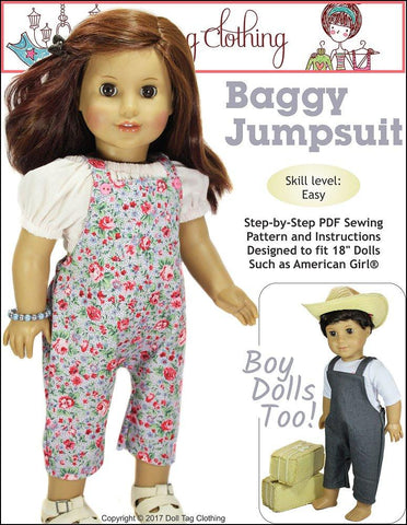 "Doll Tag Clothing 18 Inch Modern Baggy Jumpsuit 18"" Doll Clothes Pattern Pixie Faire"