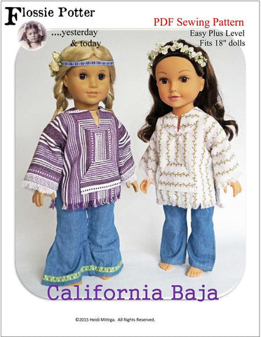 "Flossie Potter 18 Inch Modern California Baja 18"" Doll Clothes Pattern Pixie Faire"