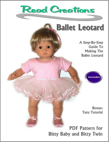 "Read Creations Bitty Baby/Twin Ballet Leotard 15"" Baby Doll Clothes Pattern Pixie Faire"