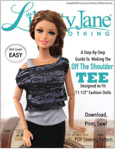 "Liberty Jane Barbie Off The Shoulder Tee for 11-1/2"" Fashion Dolls Pixie Faire"