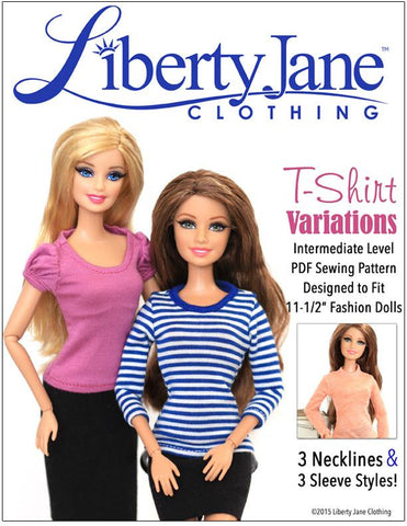 "Liberty Jane Barbie T-Shirt Variations Pattern For 11-1/2"" Fashion Dolls Pixie Faire"